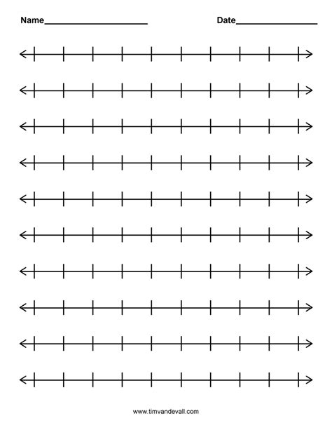 printable number line pictures printable blank number line templates for math students