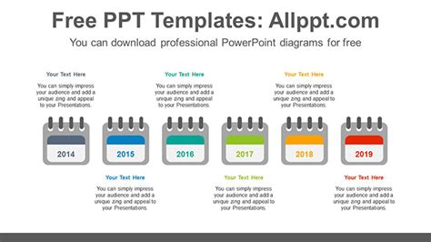 6 Calendars Powerpoint Diagram Template Powerpoint Calendar Template