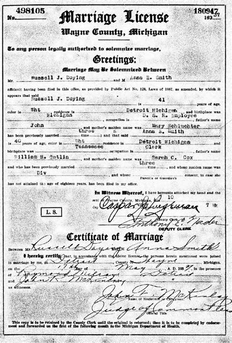 Michigan Marriage Records So Many Ancestors 52 Ancestors Week 23 Quot Wedding Quot