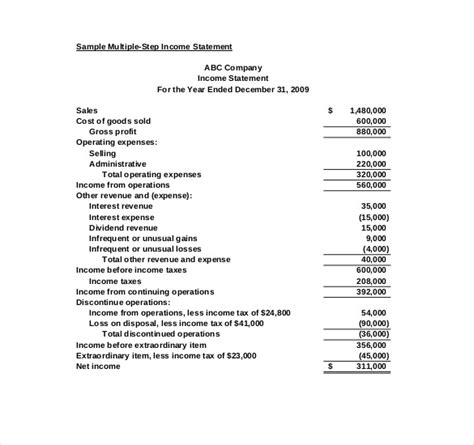 Multi Step Income Statement Excel Template by Income Statement Template 17 Free Word Excel Pdf