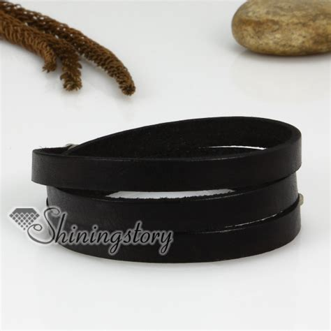 Layered Genuine Leather Bracelet genuine leather three layer layer snap wrap