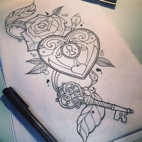 locket tattoo designs best 25 key designs ideas on