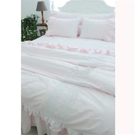 light pink ruffle bedding lace bedding set