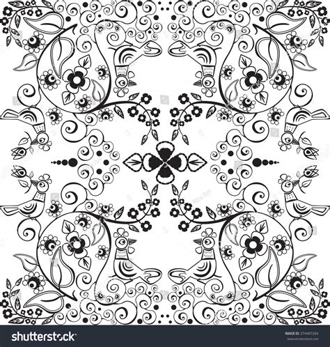 coloring book paper stock vector pattern birds flowers leaves branches stock vector