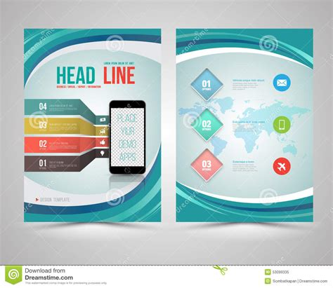 graphic design brochure templates trendy graphic design layout with smart phone stock vector