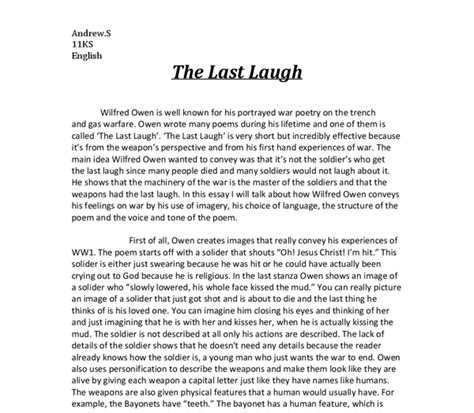 Wilfred Owen Essay by Wilfred Owen Essay