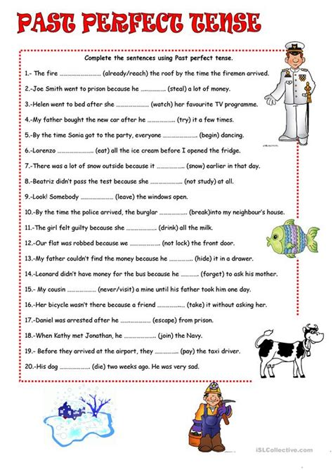 past perfect tense worksheet free esl printable