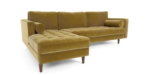 cotton velvet sofa 4 seater left facing chaise end sofa gold