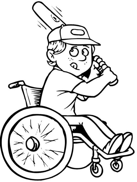 coloring pages for adults with disabilities athletes baseball disabilities coloring page