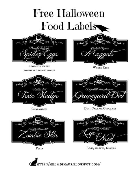 free printable halloween recipes helmighaus free halloween party table labels