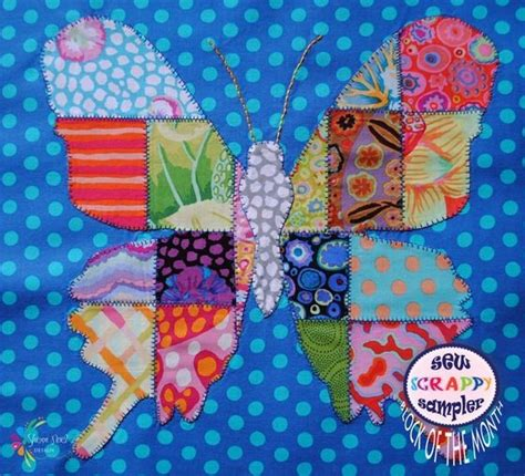 Patchwork Butterfly Pattern - image of block 3 sew scrappy sler patchwork