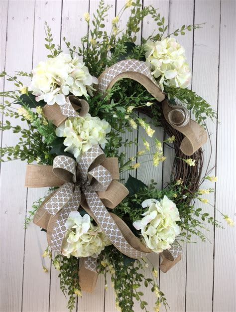 front door wreath hydrangea wreath white hydrangea wreath