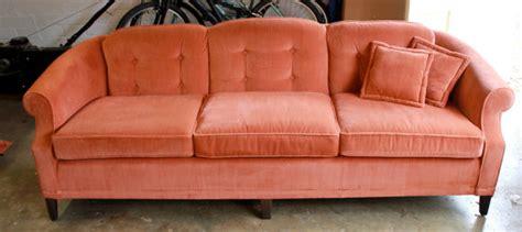 vintage orange velvet sofa reserved for ap 1970s vintage ethan allen velvet sofa