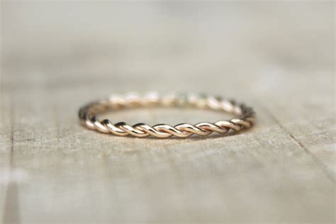 Gold Twist Ring Yellow Gold Fill Stackable Ring karma