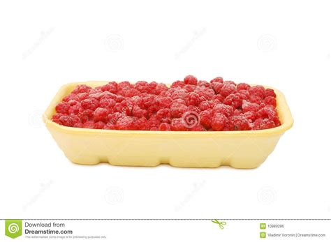Map Plastik Frozen plastic tray with the frozen raspberry royalty free stock