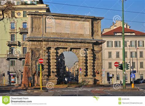 porta romana milan porta romana ancient gate milan italy editorial