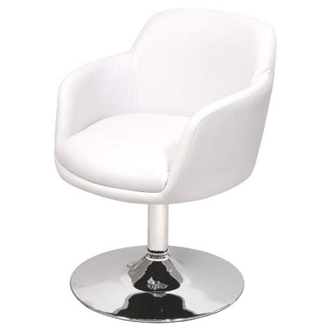 bucketeer bar chair in white faux leather with chrome base