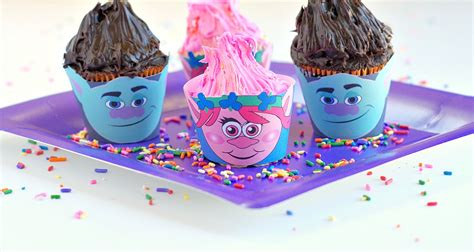 trolls cupcakes trolls cupcake wrappers val event gal