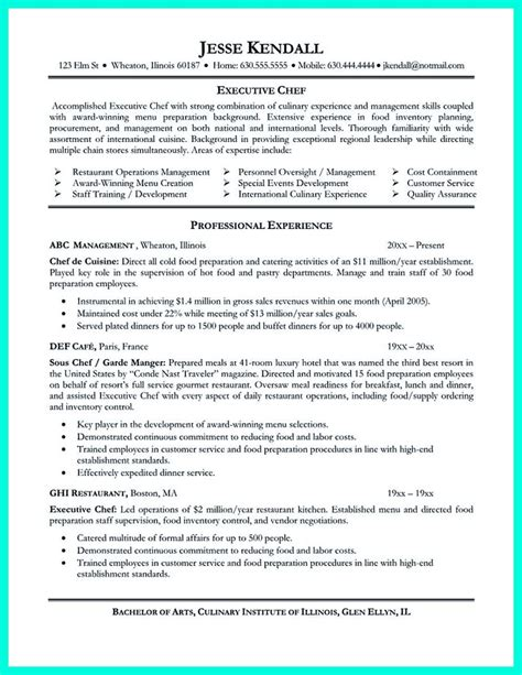 Executive Chef Resume Template by Chef Resumes That Will Impress Your Future Company
