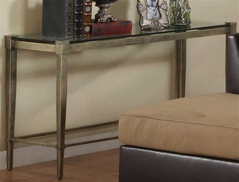 metal and glass sofa table homelegance comfort living sofa table metal and glass 3283