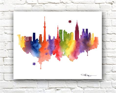 printable watercolor art tokyo skyline abstract watercolor painting art print by