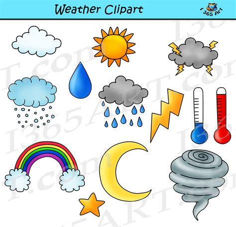 Weather Clipart Bundle Set - Commercial-Use Clipart for School Free Clip Art Weather Pictures