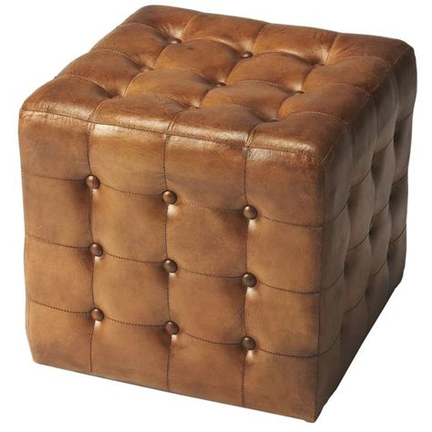 Distressed Leather Ottoman Brown Distressed Leather Ottoman Woodwaves