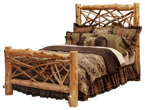 cedar twig log headboard traditional cedar king