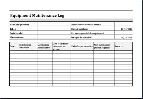 equipment maintenance log template at http www