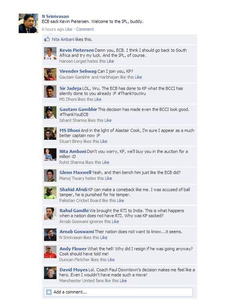 fb reacts fake fb wall srinivasan reacts to kevin pietersen s sacking