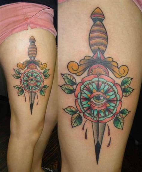 last angels tattoo eye dagger thigh by last