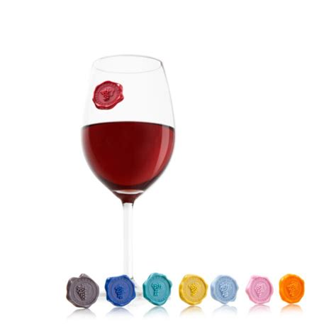 Glass Marker by Vacuvin Classic Wine Glass Markers Gray House Promotions