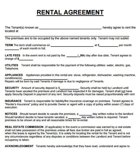 printable rental agreement uk printable sle rental agreement form real estate forms