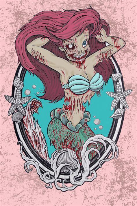 zombie mermaid shower curtain zombie little mermaid 2 art print