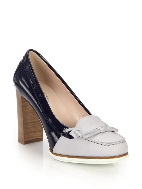 loafers pumps lyst tod s two tone leather patent leather loafer