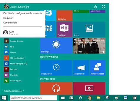 imagenes sistema windows 10 c 243 mo funciona el nuevo men 250 de inicio de windows 10