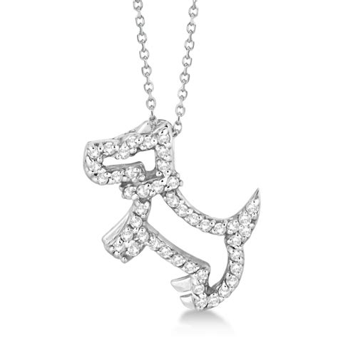 diamond dog house diamond dog pendant necklace pave set 14k white gold 0