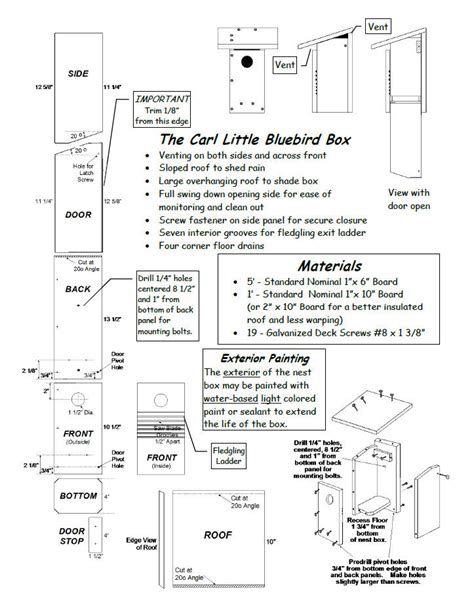 Nestbox Plans North American Bluebird Society Bluebird House Plans Pdf