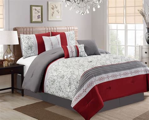 gray and burgundy bedroom 7 piece flora print burgundy gray ivory comforter set