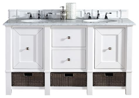bathroom vanities beach cottage style madison 60 quot cottage white double vanity carrera white