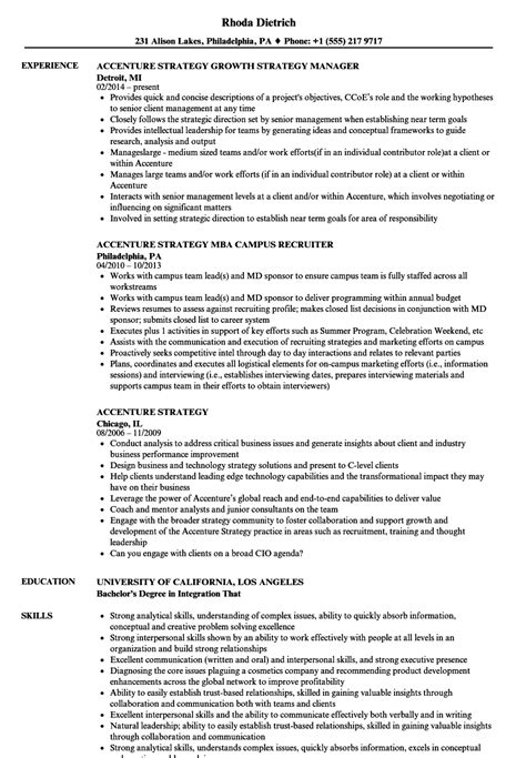 Internship Resume Exlefor Mba In Information System by Accenture Strategy Resume Sles Velvet