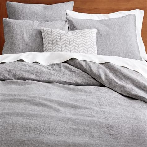 belgian linen bedding belgian flax linen melange duvet cover shams slate west elm