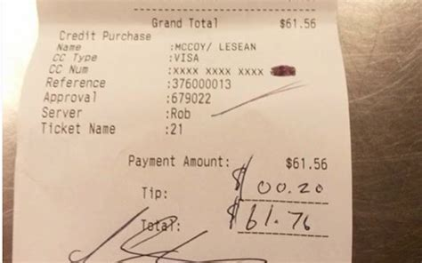 Can You Put A Tip On A Restaurant Gift Card - lesean mccoy 20 cent tip receipt is on ebay bidding passes 100 000 cbssports com