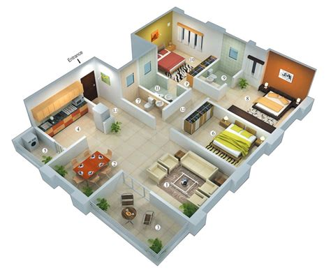 3 room 3d house plan 25 more 3 bedroom 3d floor plans