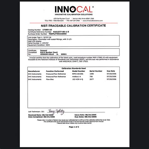 pressure calibration certificate template nist traceable calibration thermistor probe probe only