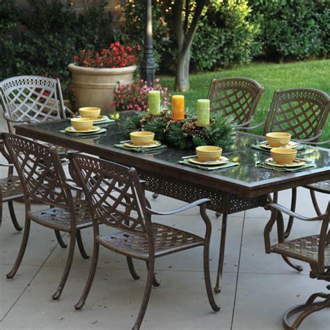 granite top dining table set darlee sedona 9 piece cast aluminum patio dining set with