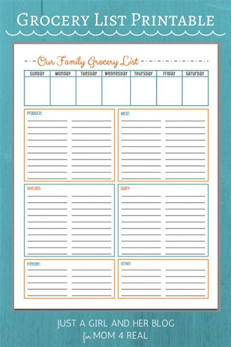 printable grocery planner girls meal planner and chang e 3 on pinterest