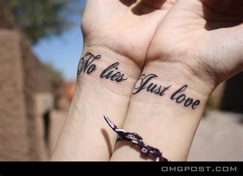 matching love quote tattoos for couples no lies just we how to do it