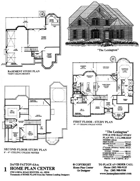 Story And A Half Floor Plans Home Plan Center 1 1 2 2908 Lexington