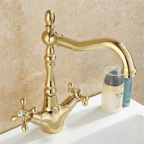 vintage golden polished brass lengthen spout bathroom